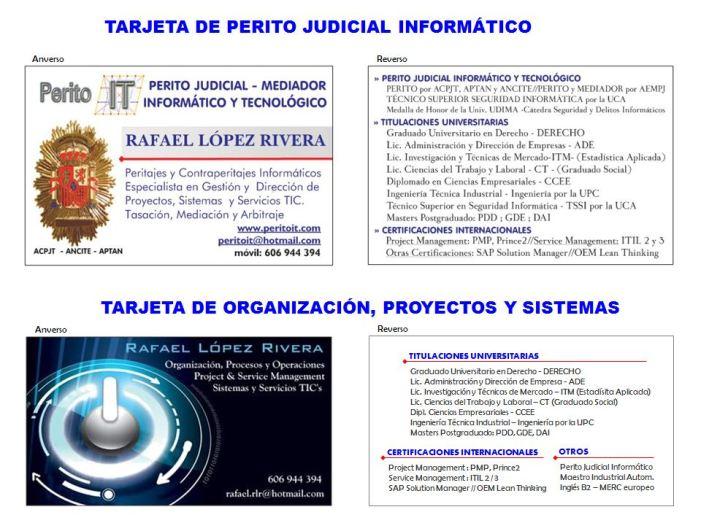 Tarjetas Perito y Organizacion