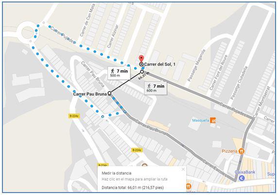 distancia GPS frente a recorrido